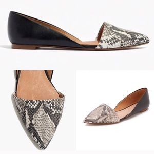 Madewell Lydia D'Orsay Flat Python and Black